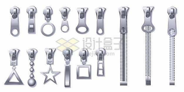 3款金属拉链拉锁和12款不同风格的拉链头png图片素材