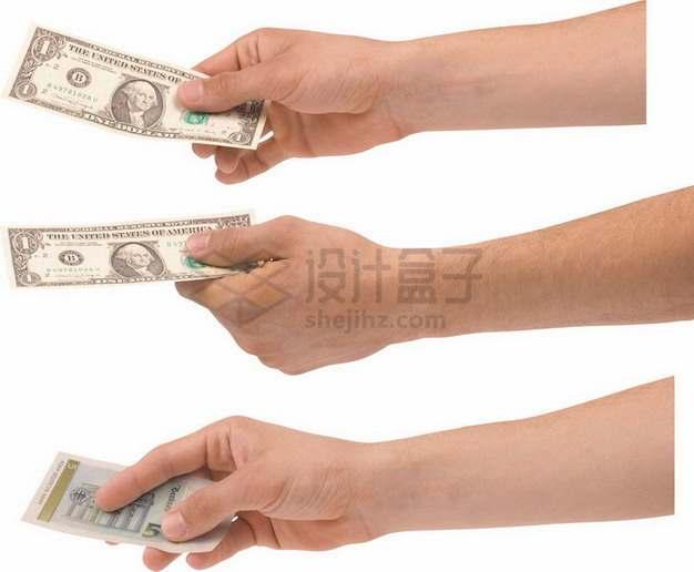 三只手拿着一张美元钞票png图片素材