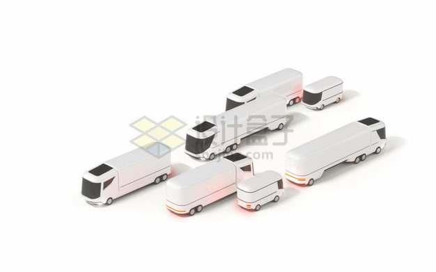 未来式的白色无人汽车客车等交通工具png图片素材