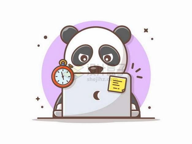 MBE风格卡通熊猫正在使用笔记本电脑png图片免抠矢量素材