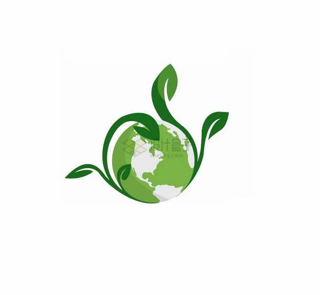 地球上发芽的绿色嫩芽世界环境日扁平插画png图片素材