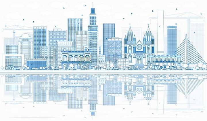 巴西圣保罗蓝色线条城市天际线png图片素材