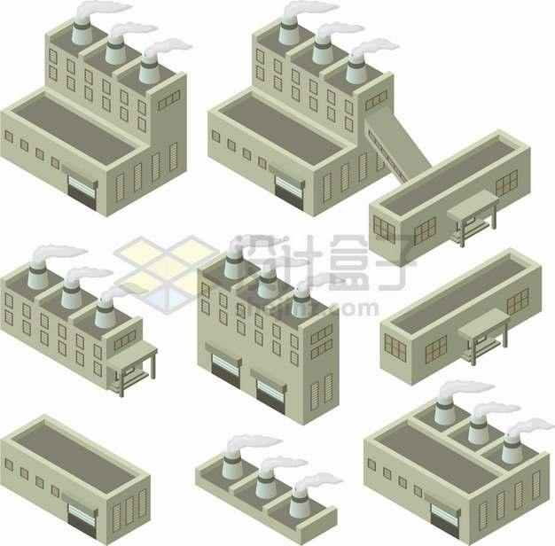 9款2.5D风格烟囱冒烟的工厂厂房png图片素材