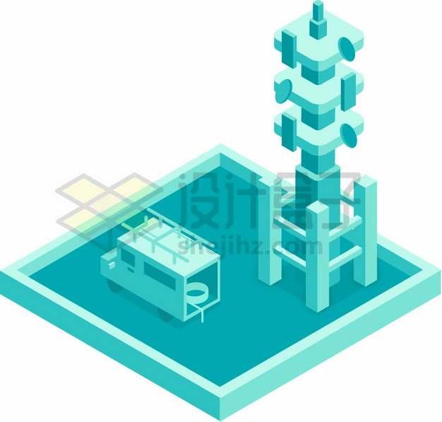3D城市移动通信车和无线信号发射塔png图片素材