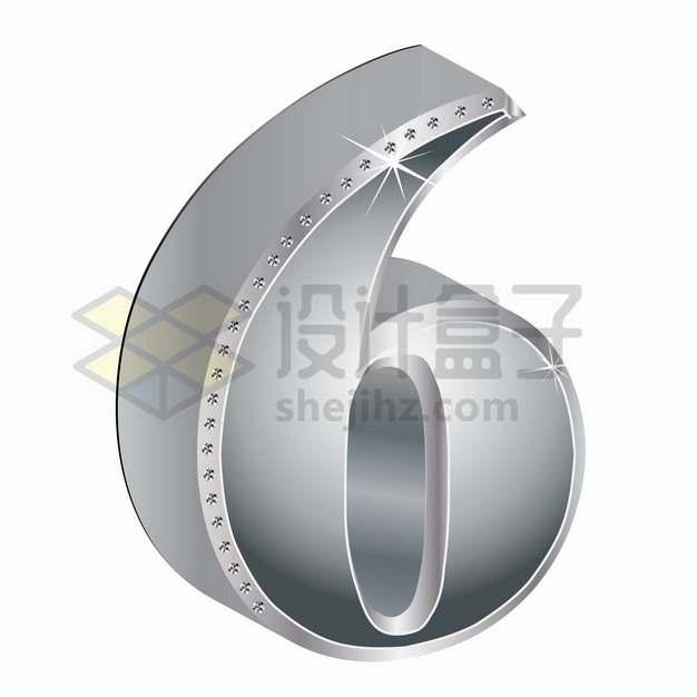 3D金属银色镶钻立体数字6png图片素材