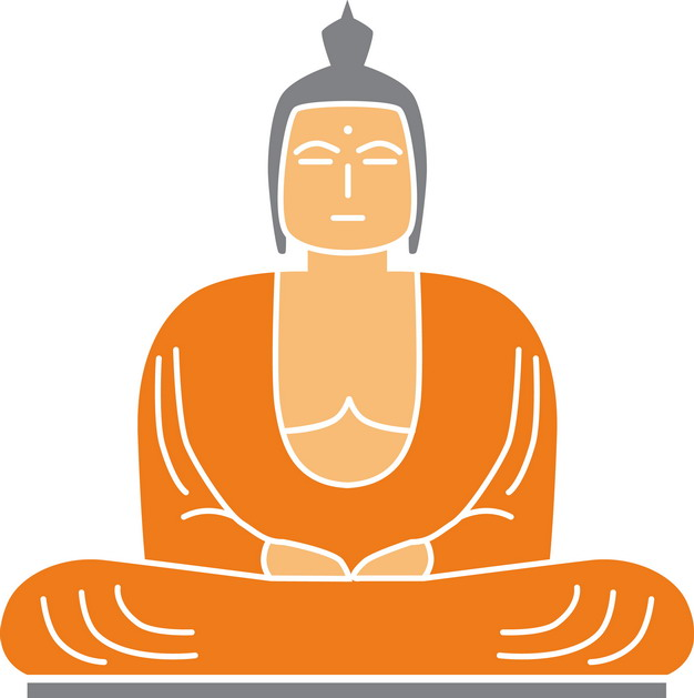 线条打坐的卡通佛祖雕像png图片素材 人物素材-第1张