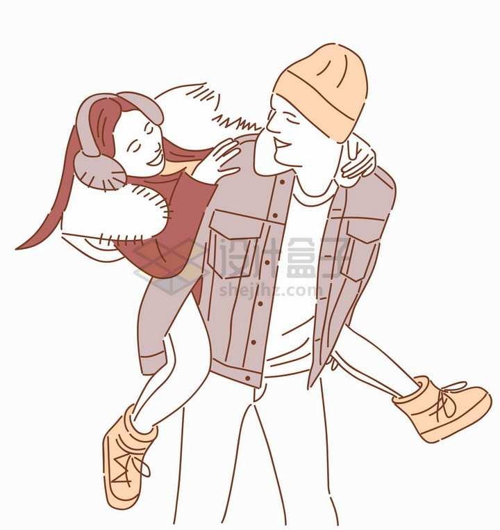 背着女朋友的男孩秀恩爱的情侣手绘线条插画png图片素材