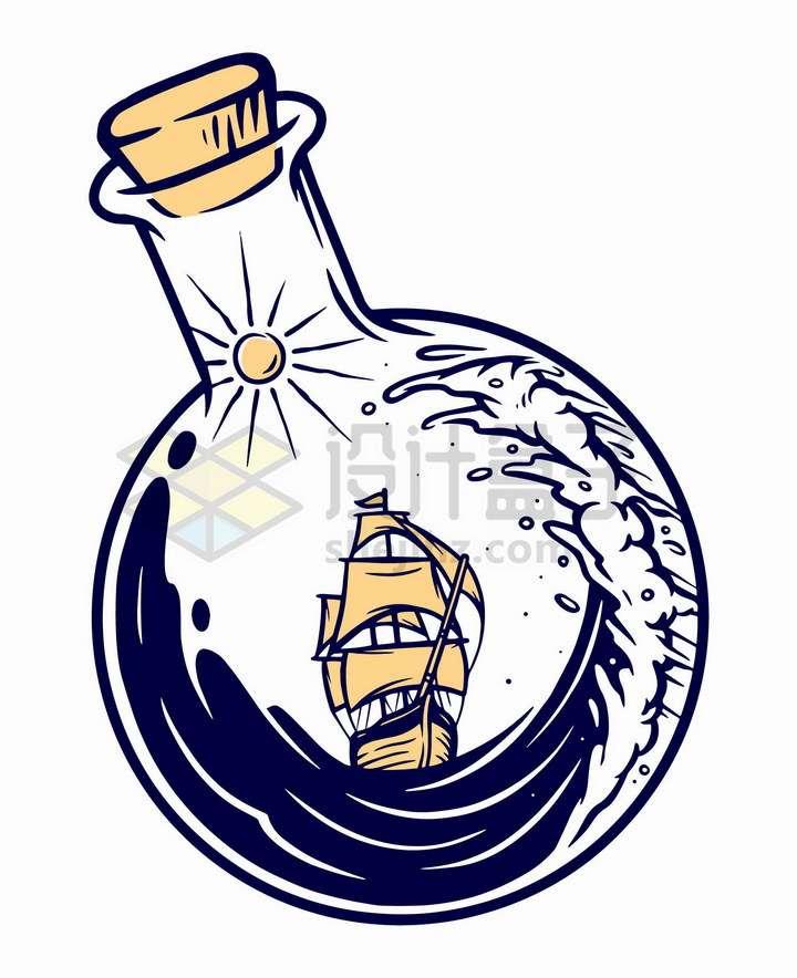 抽象玻璃瓶中的大海和帆船手绘插画png图片免抠矢量素材