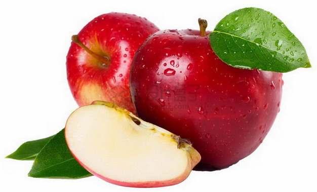 切开的红富士苹果红将军png图片素材