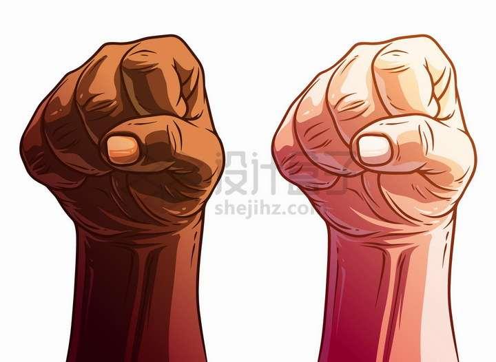 2款漫画风格捏紧的拳头png图片免抠矢量素材