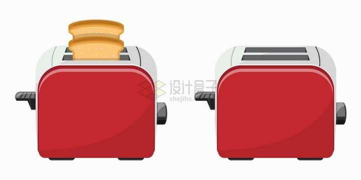 工作中的红色烤面包机早餐机厨房用品png图片素材