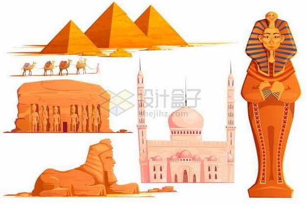 金字塔骆驼队狮身人面像卡尔纳克神庙埃及地标建筑旅游景点png图片免抠矢量素材