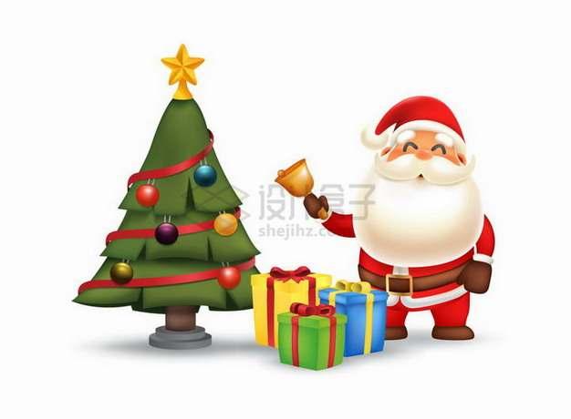 超可爱卡通圣诞老人和圣诞树圣诞礼物png图片素材