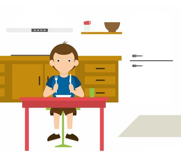 卡通男孩准备吃饭png图片素材