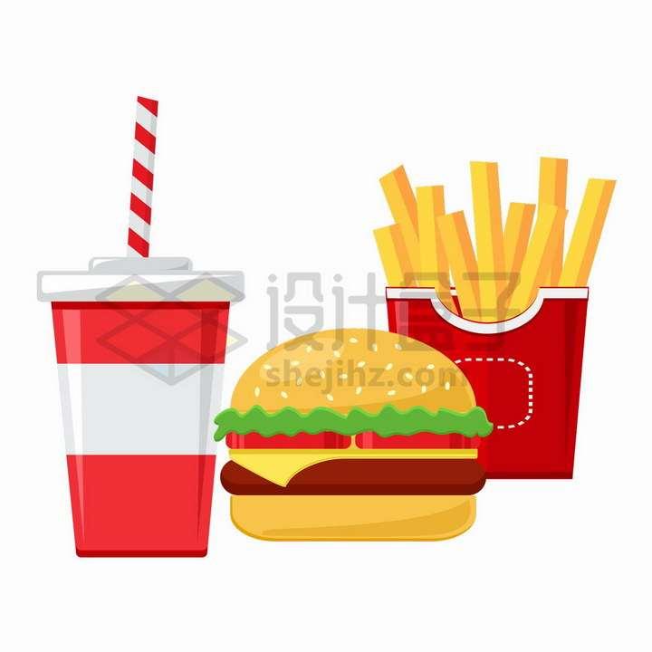 可乐汉堡包和薯条西餐快餐美味美食png图片免抠矢量素材