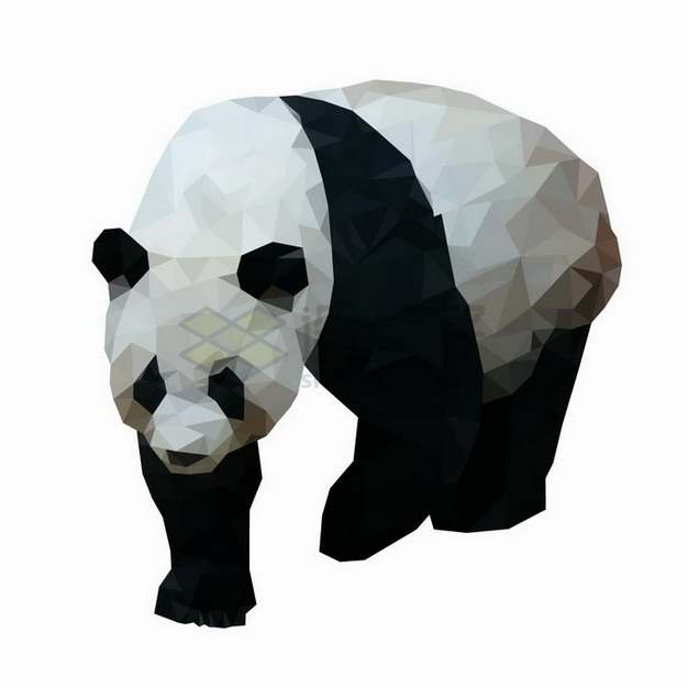 多边形组成的大熊猫野生动物png图片免抠矢量素材