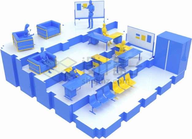 紫色3D大学阶梯教室课堂png图片素材