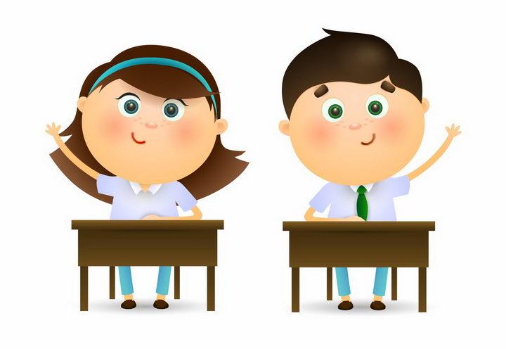 两个可爱的卡通学生坐在课桌前踊跃举手回答问题png图片免抠矢量素材 教育文化-第1张