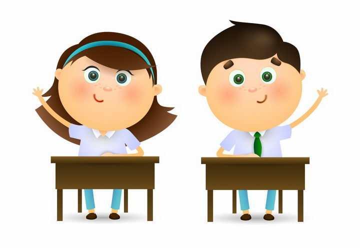 两个可爱的卡通学生坐在课桌前踊跃举手回答问题png图片免抠矢量素材