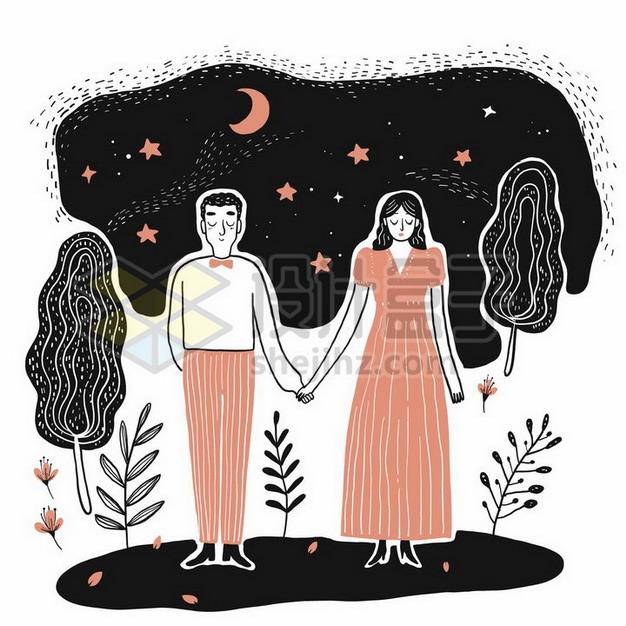 抽象风格夜空下手牵手的情侣手绘线条插画png图片素材 插画-第1张