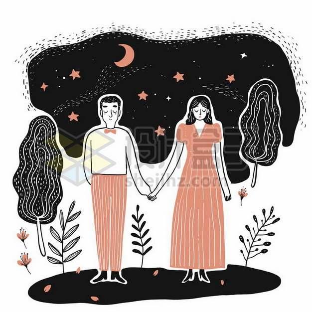抽象风格夜空下手牵手的情侣手绘线条插画png图片素材