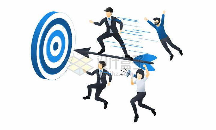 蓝色扁平插画风格跟着目标靶子射箭的商务人士png图片免抠矢量素材