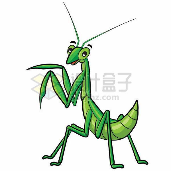 比较可爱的绿色卡通螳螂png图片免抠矢量素材