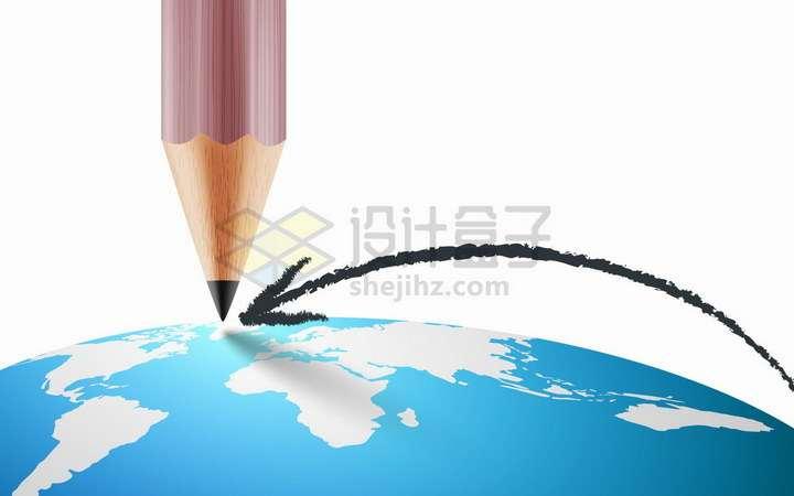 在弧形世界地图地球上用铅笔画了一个箭头png图片免抠矢量素材