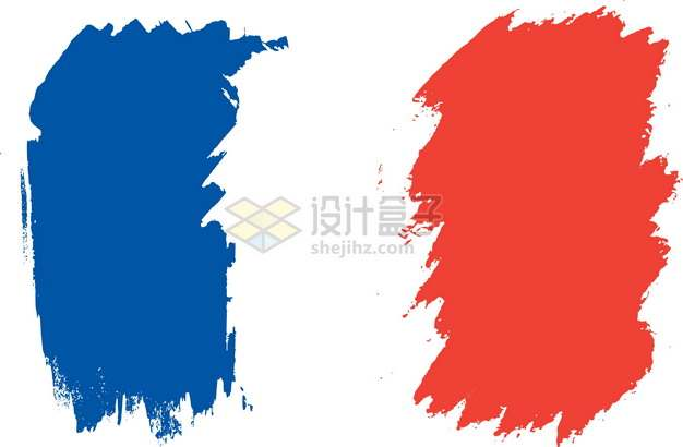 涂鸦风格法国国旗图案png图片素材
