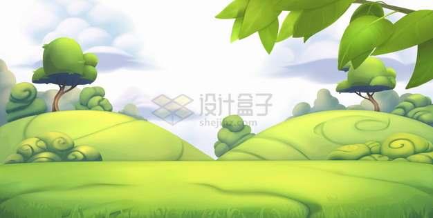 3D风格小山坡草地大树清新的绿色世界png图片素材