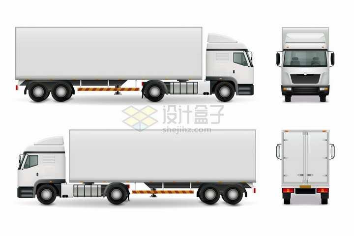 白色厢式货车大型卡车的四视图png图片素材