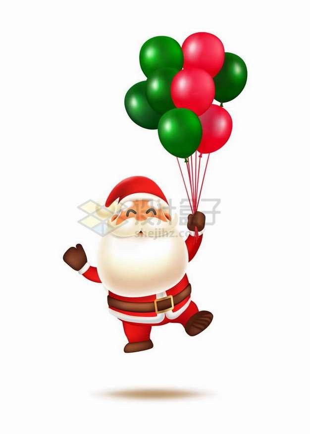 拿着彩色气球的超可爱卡通圣诞老人png图片素材