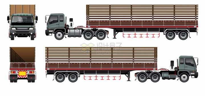 半挂农用卡车的四个不同角度png图片素材