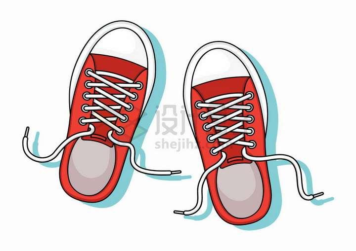 鞋带松开的红色休闲鞋运动鞋球鞋png图片免抠矢量素材