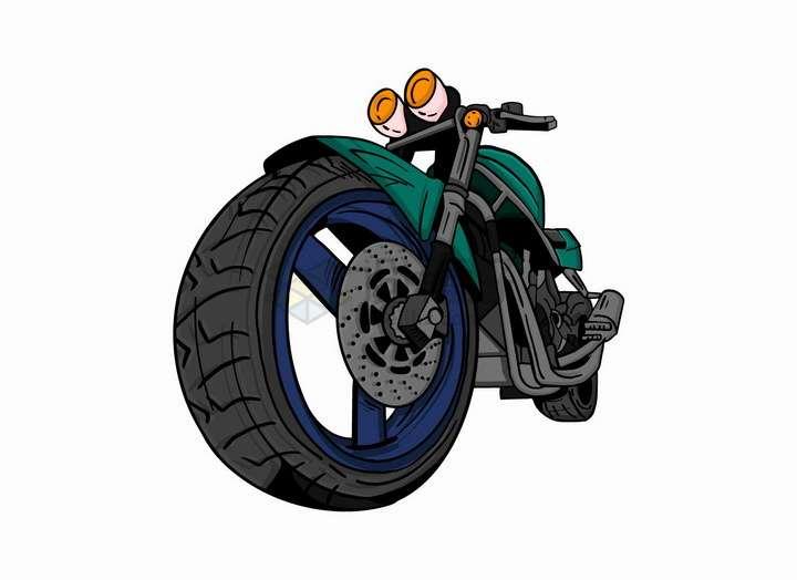 漫画风格绿色摩托车具有冲击力的视角png图片免抠矢量素材