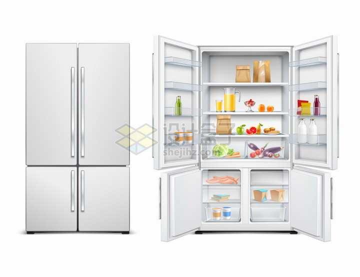 关闭和打开的四门对开电冰箱厨房电器png图片素材