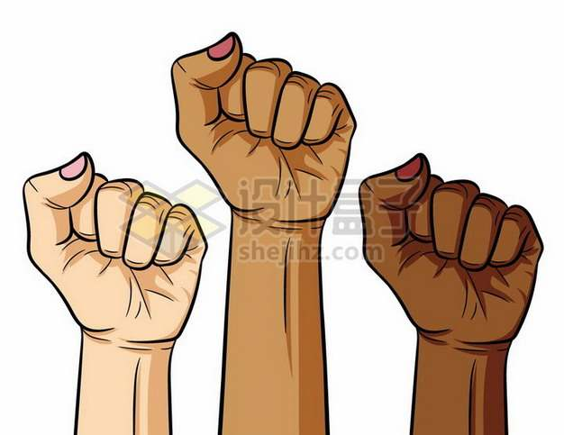 三个高举握紧的拳头彩绘插画png图片素材