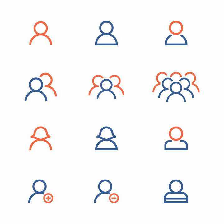 12款橙色蓝色线条人物图标png图片免抠矢量素材