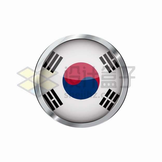银色金属边框韩国国旗圆形按钮png图片素材