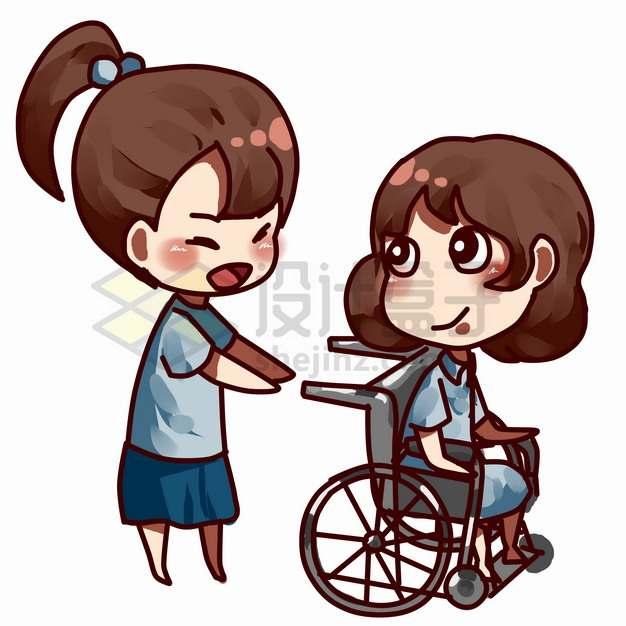 卡通女孩帮助坐轮椅的残疾人全国助残日关爱残疾人png图片素材