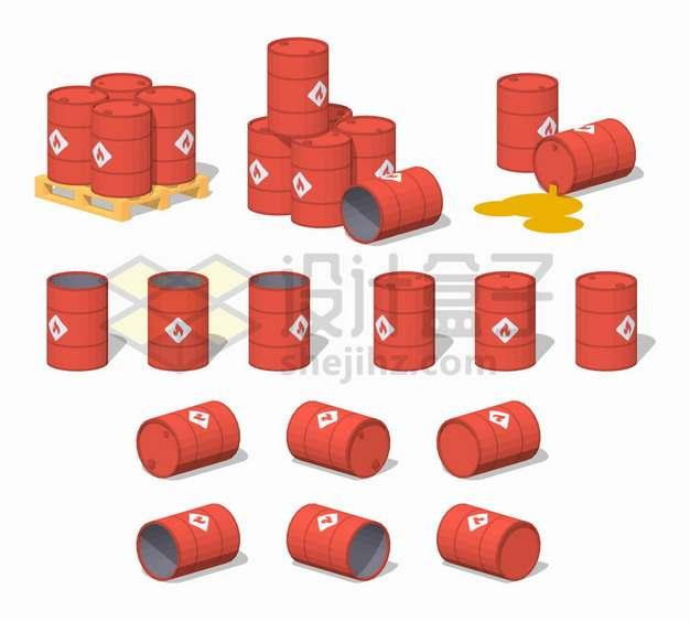 各种红色的燃料桶汽油桶铁桶化工桶png图片素材