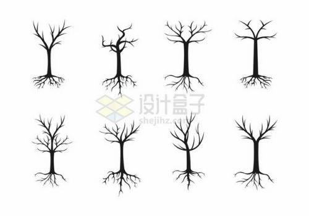 8款带树根的大树剪影png免抠图片素材