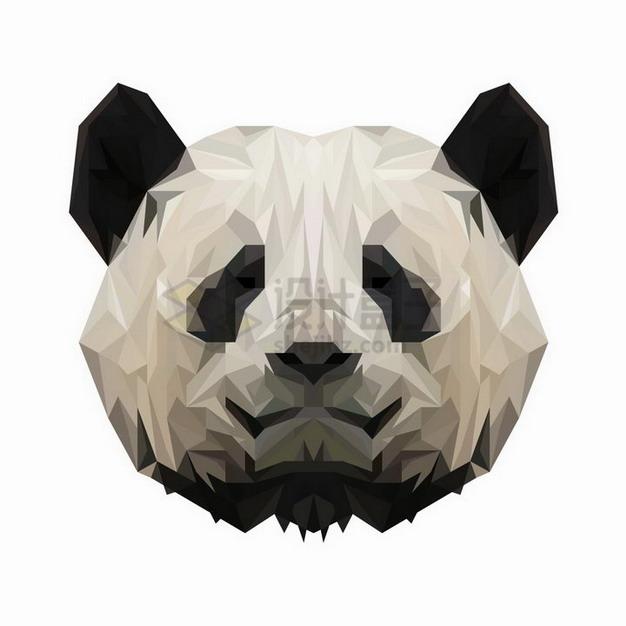 多边形组成的熊猫头png图片免抠矢量素材 生物自然-第1张