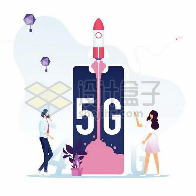 采用5G技术手机上的火箭发射象征了技术的更新png图片素材