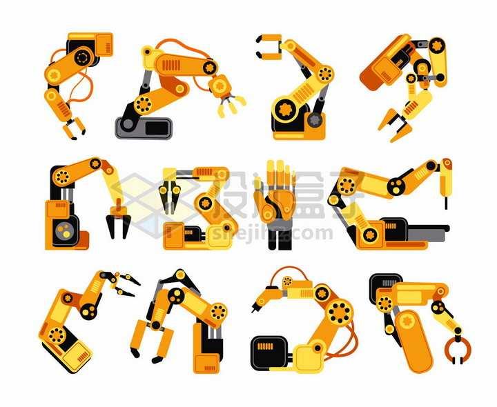 16款橙色工厂流水线机械手臂扁平化风格png图片素材