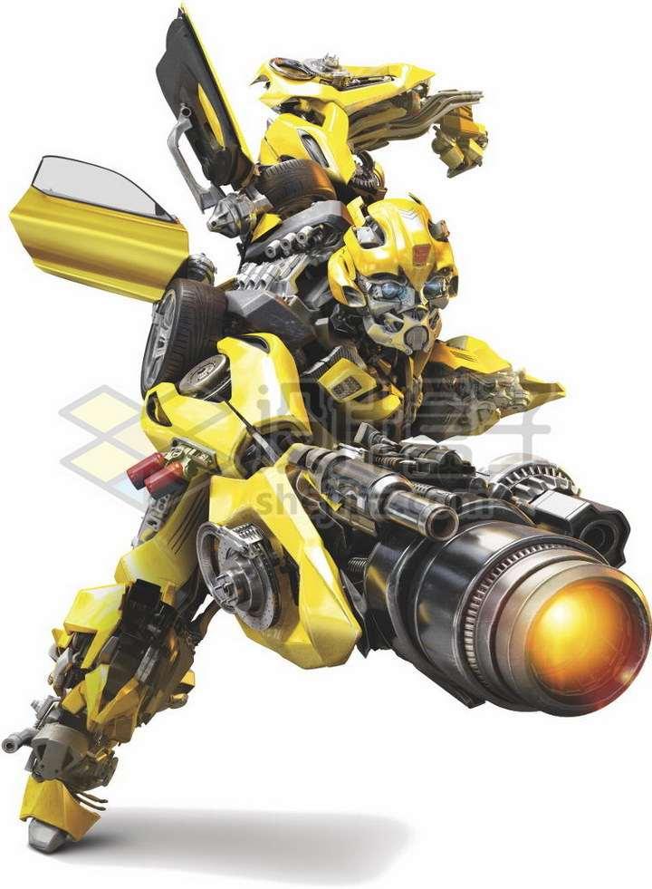 大黄蜂变形金刚拿着等离子炮往前冲png图片免抠素材