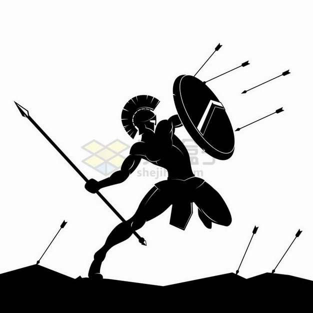 跳跃起来用盾牌挡住射箭的古罗马战士剪影png图片免抠矢量素材