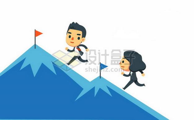 两个卡通商务人士正在比赛登山职场竞争关系png图片素材 商务职场-第1张