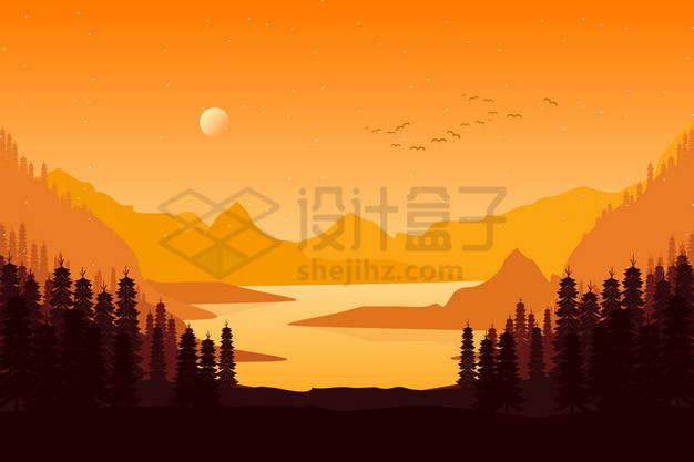远处的落日或日出高山湖泊和森林黄色剪影插画png图片素材