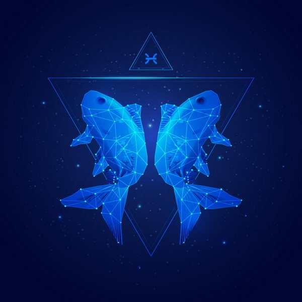 蓝色发光点线组成十二星座之双鱼座png图片免抠矢量素材